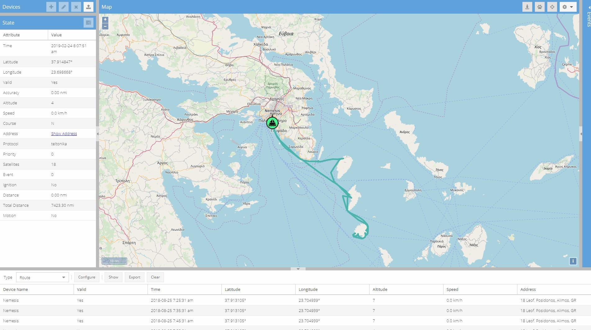 Αναφορά πορείας Tracker σε δεδομένο χρόνο